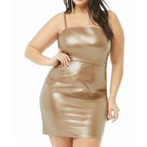 Forever21 + Rose Gold Faux Leather Mini Dress 2x